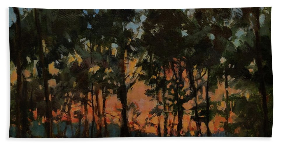 New England Hand Towel featuring the painting Campground At Dusk by Peter Salwen