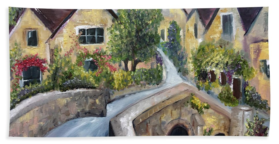Landscape Bath Towel featuring the painting Castle Combe by Roxy Rich