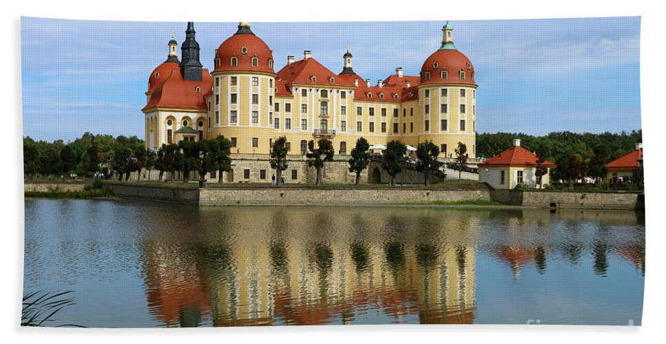 Castle Hand Towel featuring the photograph Castle Moritzburg by Christiane Schulze Art And Photography