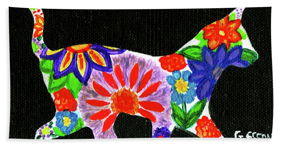 Cat Bath Towel featuring the painting Cat In Floral Silhouette by Genevieve Esson
