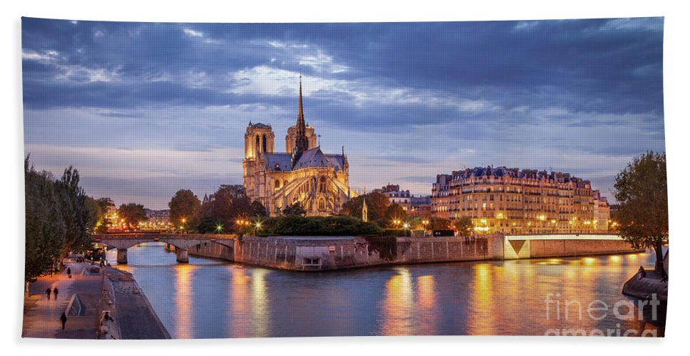 Architcture Bath Sheet featuring the photograph Cathedral Notre Dame And River Seine by Brian Jannsen