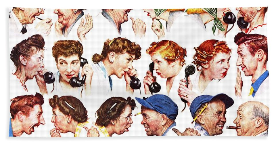 Gossiping Bath Towel featuring the drawing Chain Of Gossip by Norman Rockwell