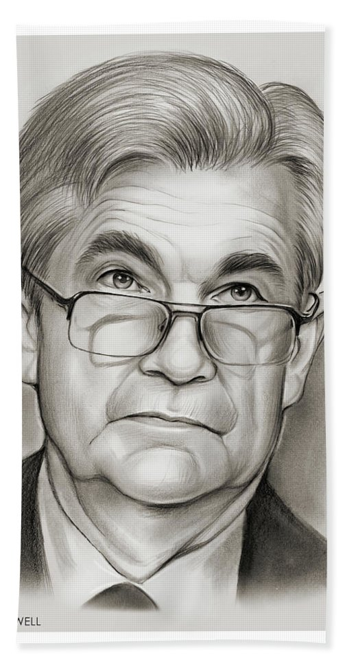 Jerome Powell Hand Towel featuring the drawing Chairman Powell by Greg Joens