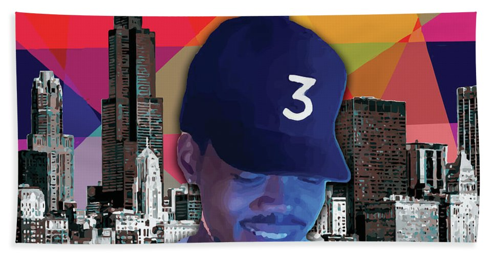 Chance The Rapper Hand Towel featuring the painting Chance Chicago by Carla B