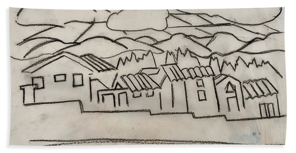 Plein Air Bath Towel featuring the painting Charcoal Houses Sketch by Suzanne Cerny