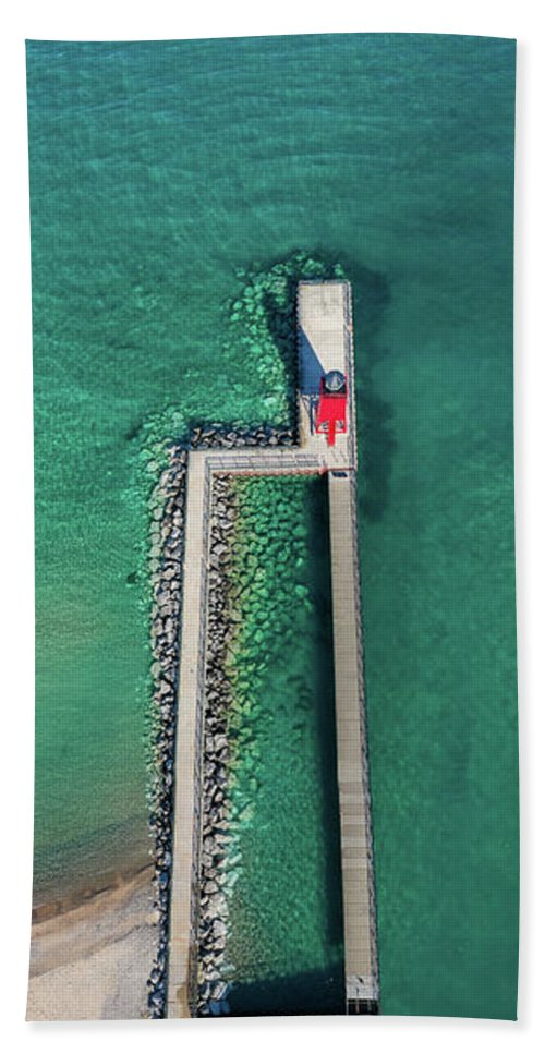 Charlevoix Bath Towel featuring the photograph Charlevoix Pier From The Sky by Twenty Two North Photography