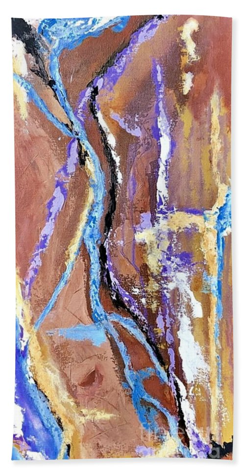 Abstract Hand Towel featuring the painting Chasm by Mary Mirabal