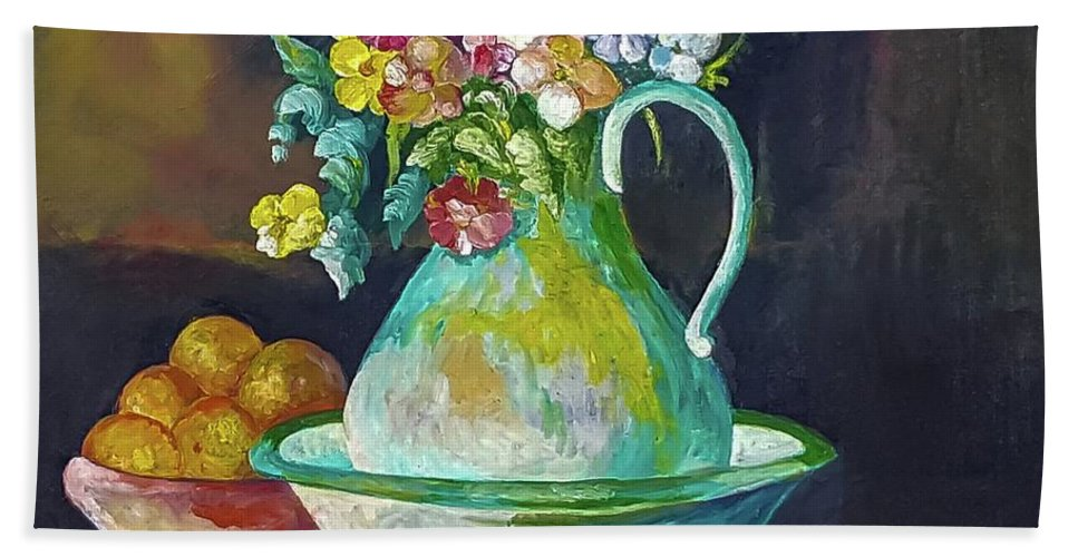Oil Painting Of Flowers Bath Sheet featuring the painting Childhood Memories Forgotten by Charles Boyd