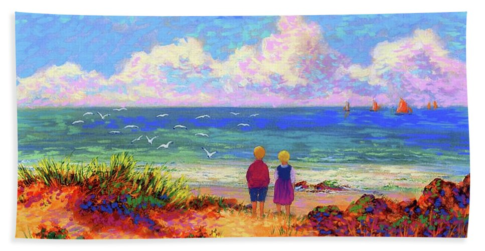 Ocean Bath Towel featuring the painting Children Of The Sea by Jane Small
