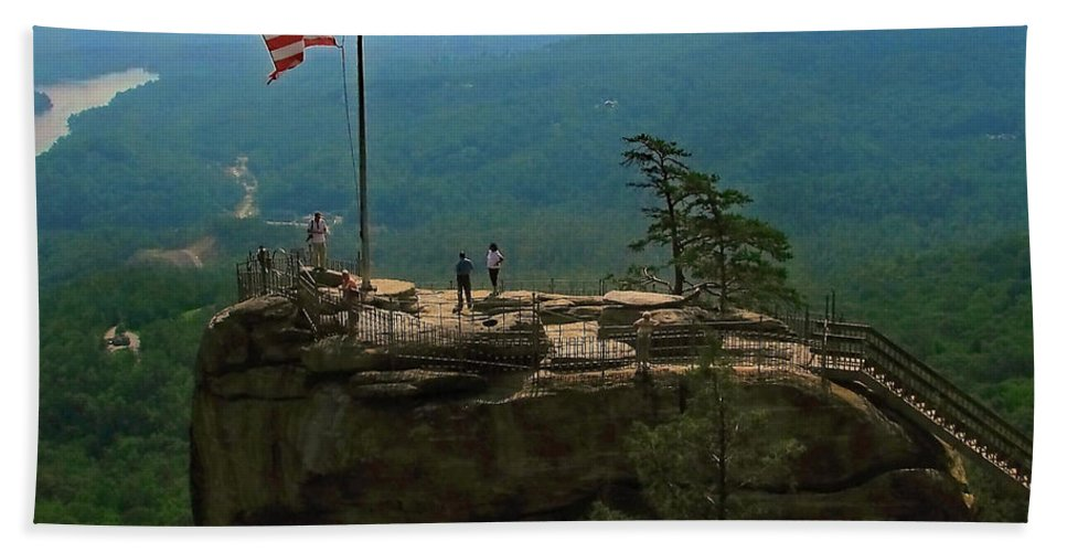 Chimney Rock Hand Towel featuring the photograph Chimney Rock by Jeff Heimlich