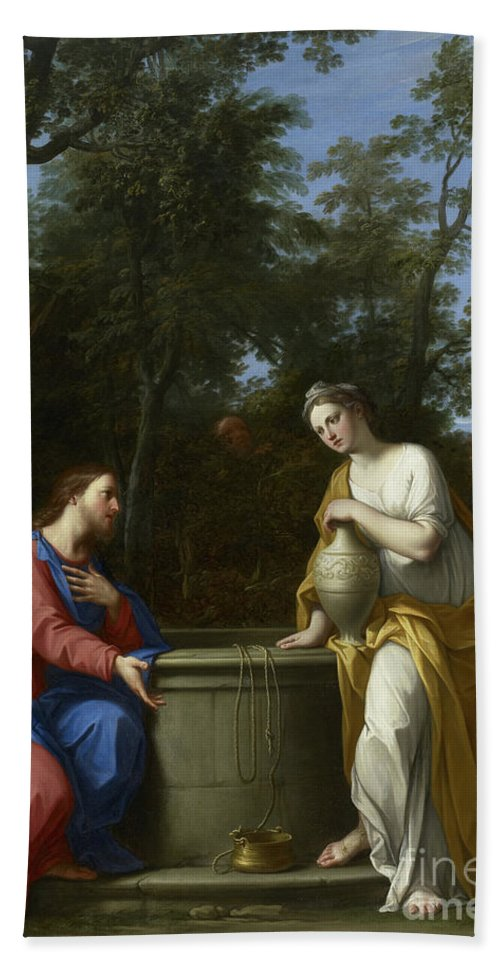 Christian Hand Towel featuring the painting Christ And The Woman Of Samaria by Marco Antonio Franceschini