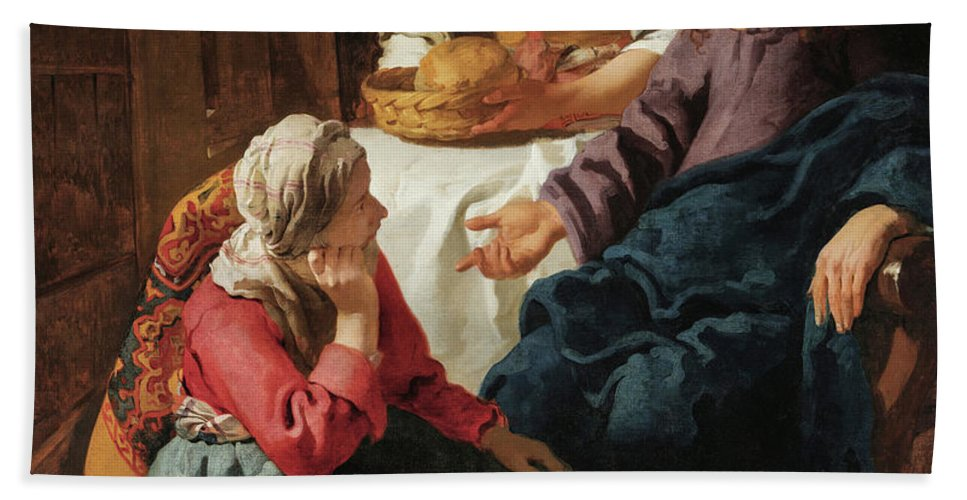 Johannes Vermeer Hand Towel featuring the painting Christ In The House Of Martha And Mary, 1656 by Johannes Vermeer