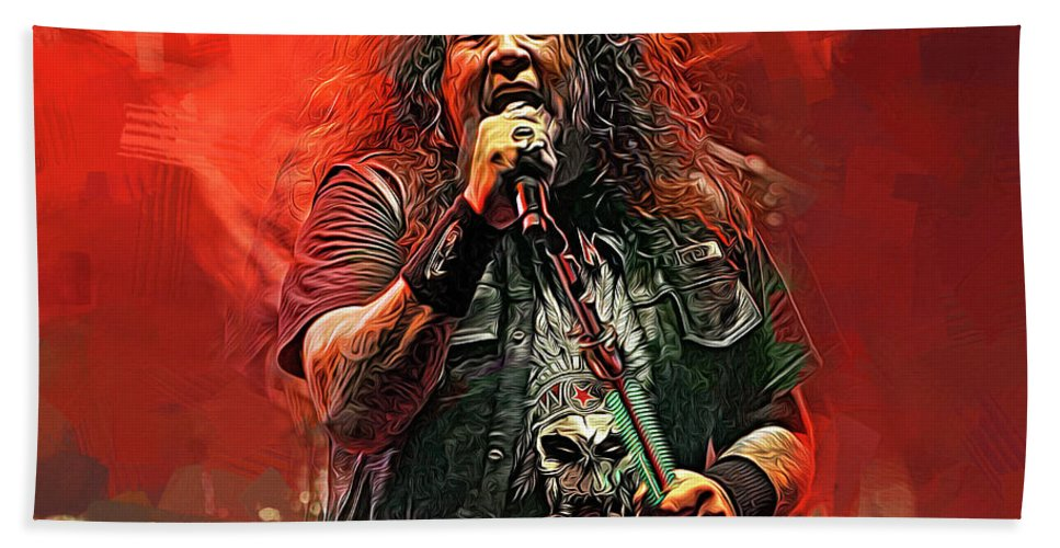 Chuck Billy Bath Towel featuring the mixed media Chuck Billy, Testament by Mal Bray