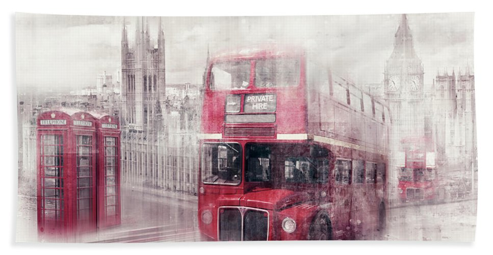 British Bath Towel featuring the photograph City-art London Westminster Collage II by Melanie Viola