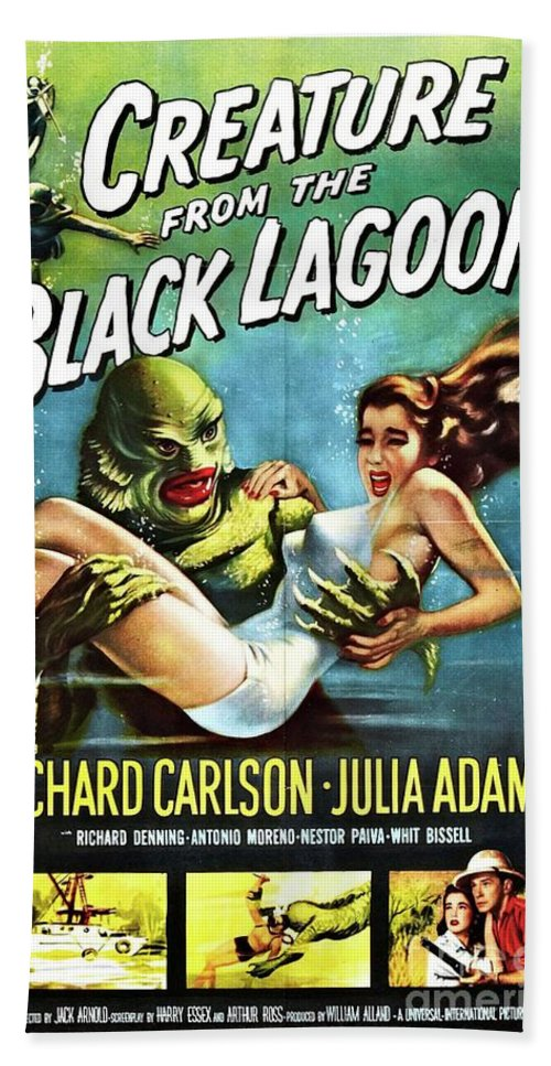 Poster Bath Towel featuring the painting Classic Movie Poster - Creature From The Black Lagoon by Esoterica Art Agency