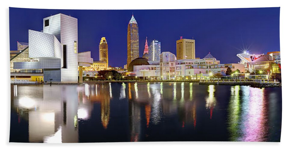 Cleveland Skyline Hand Towel featuring the photograph Cleveland Skyline At Dusk Rock Roll Hall Fame by Jon Holiday