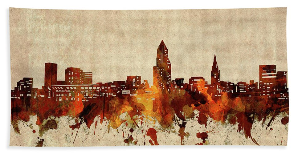 Cleveland Bath Towel featuring the digital art Cleveland Skyline Sepia by Bekim M