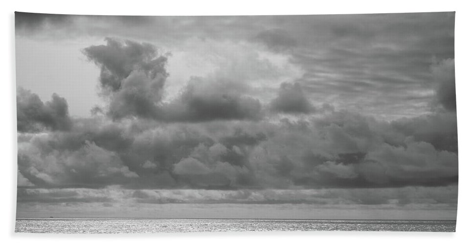 Beach Hand Towel featuring the photograph Cloudy Morning Rough Waves by Steve Stanger