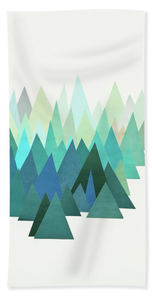 Mountains Bath Towel featuring the mixed media Cold Mountain by Cassia Beck