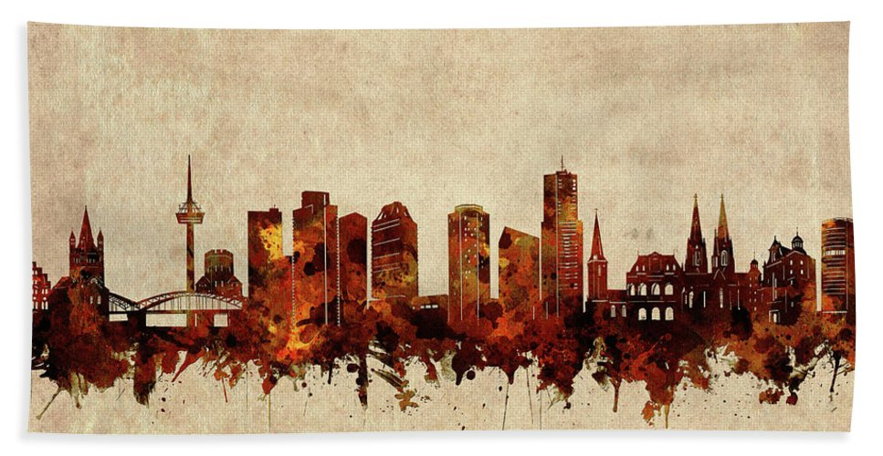 Cologne Bath Towel featuring the digital art Cologne Skyline Sepia by Bekim M