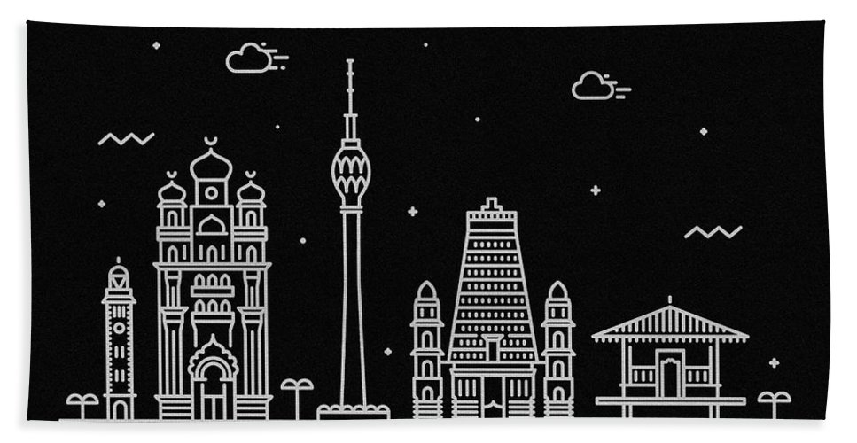 Colombo Bath Towel featuring the digital art Colombo Skyline Travel Poster by Inspirowl Design