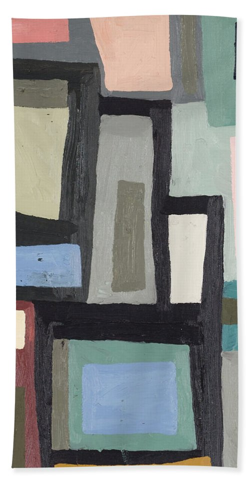 Abstract Bath Towel featuring the painting Color Blocking IIi by Erin Mcgee Ferrell