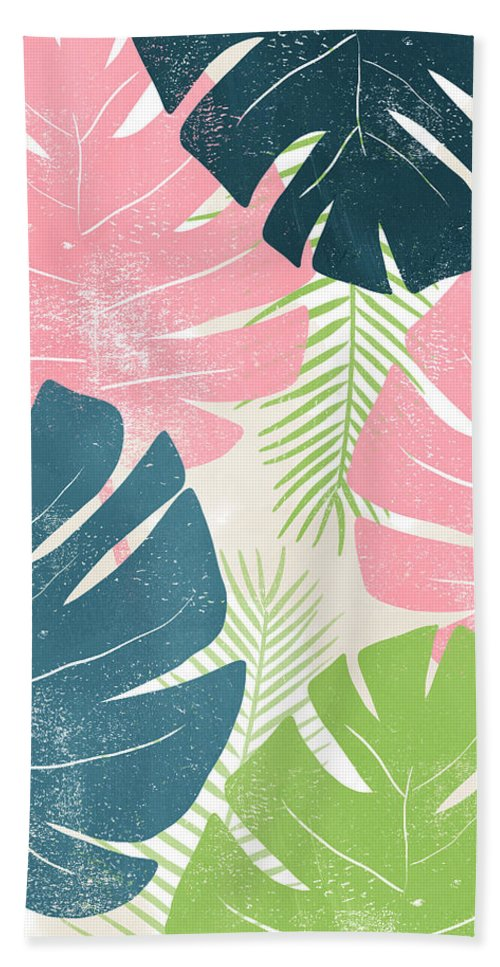Tropical Bath Towel featuring the mixed media Colorful Palm Leaves 1- Art by Linda Woods by Linda Woods