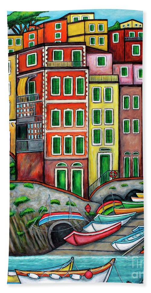 Italy Bath Towel featuring the painting Colours of Riomaggiore Cinque Terre by Lisa Lorenz