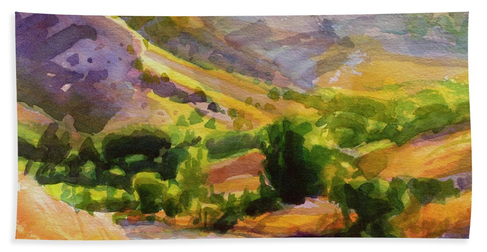 Country Bath Towel featuring the painting Columbia County Backroads by Steve Henderson