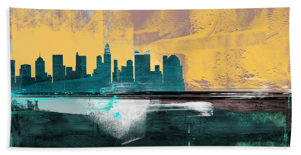 Columbus Hand Towel featuring the mixed media Columbus Abstract Skyline I by Naxart Studio