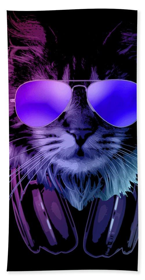 Cat Bath Towel featuring the digital art Cool DJ Furry Cat In Neon Lights by Filip Schpindel