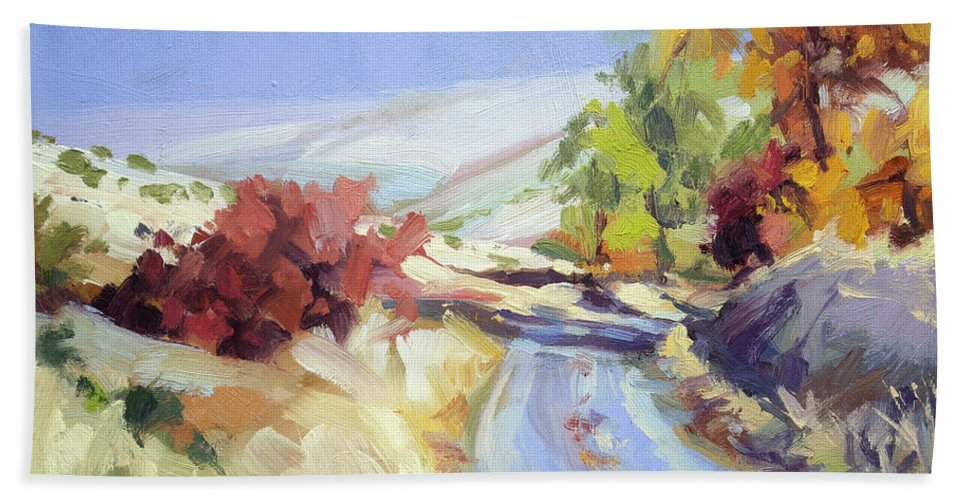 Country Bath Towel featuring the painting Country Blue Sky by Steve Henderson