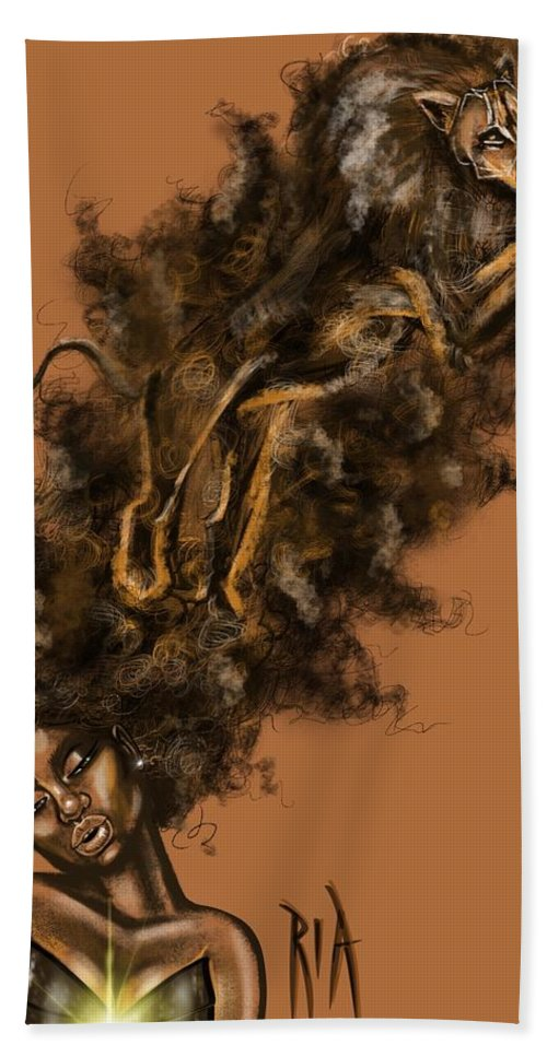 Lion Bath Towel featuring the painting Courageous Me by Artist RiA