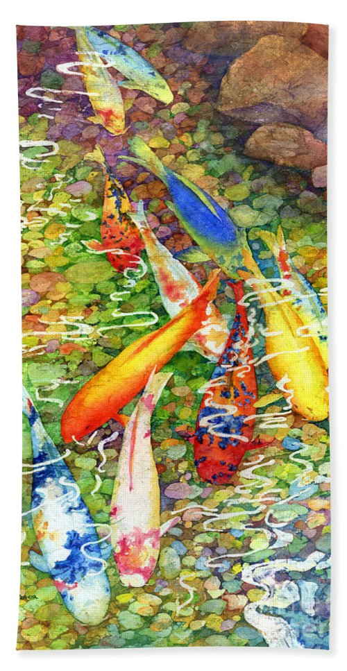 Watercolor Hand Towel featuring the painting Coy Koi by Hailey E Herrera
