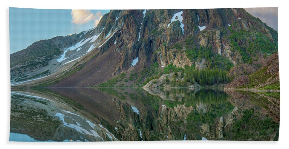 00574869 Hand Towel featuring the photograph Dana Plateau From Ellery Lake, Sierra 1 by Tim Fitzharris