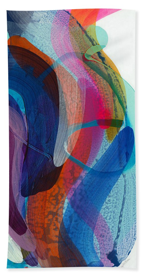 Abstract Bath Towel featuring the painting Dancing In The Kitchen by Claire Desjardins