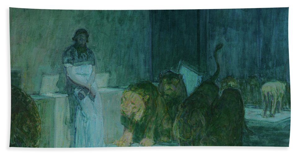 Henry Ossawa Tanner Bath Towel featuring the painting Daniel In The Lions' Den, 1918 by Henry Ossawa Tanner