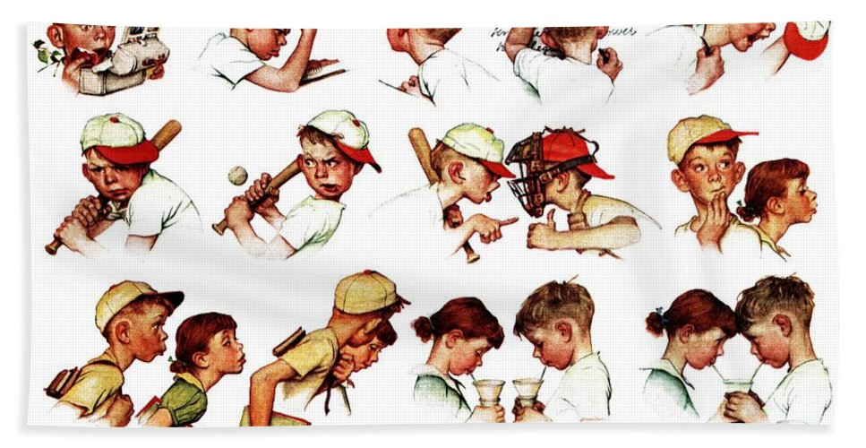 Baseball Hand Towel featuring the drawing Day In The Life Of A Boy by Norman Rockwell