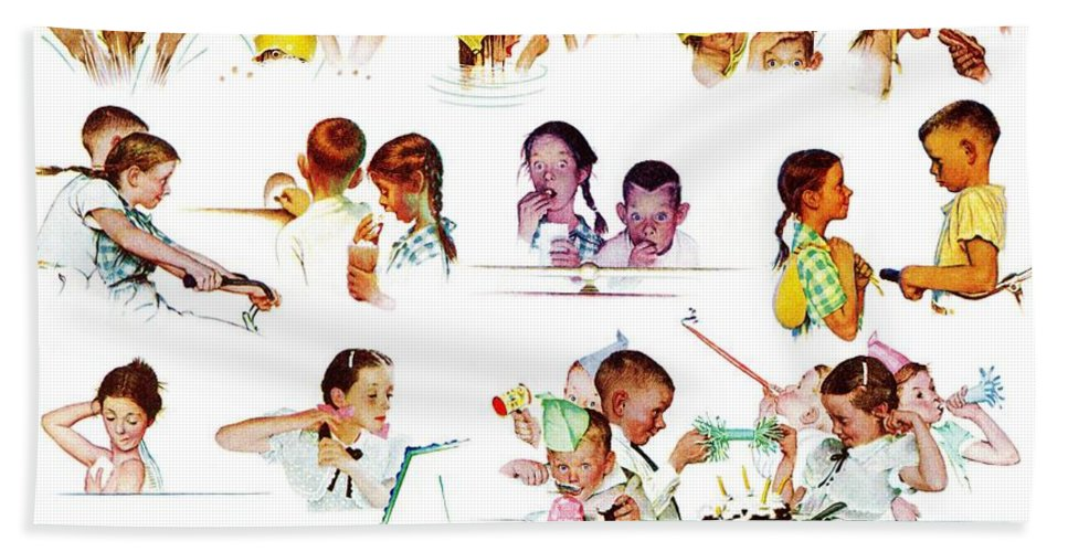 Birthdays Bath Towel featuring the drawing Day In The Life Of A Girl by Norman Rockwell