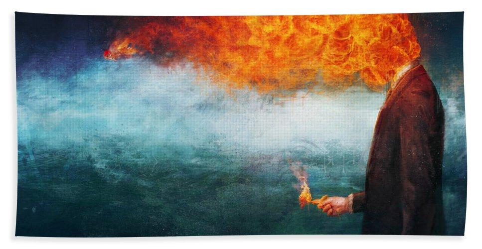 Fire Bath Towel featuring the painting Deep by Mario Sanchez Nevado