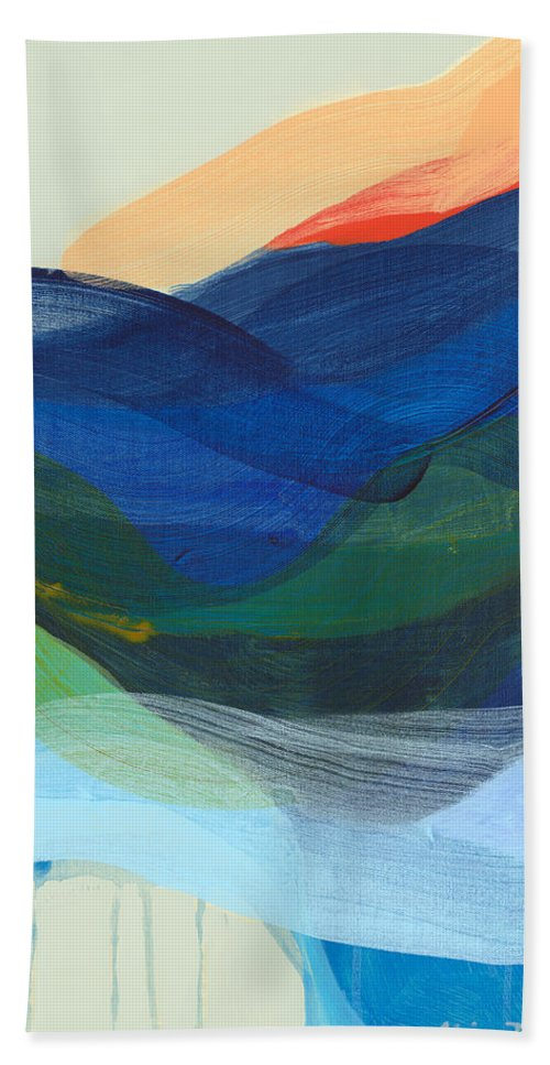 Abstract Hand Towel featuring the painting Deep Sleep Undone by Claire Desjardins