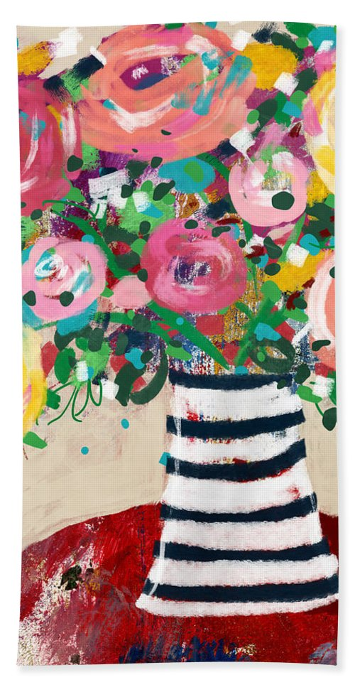 Flowers Bath Towel featuring the mixed media Delightful Bouquet 5- Art By Linda Woods by Linda Woods