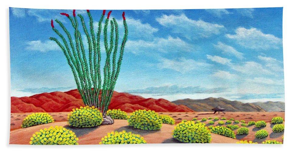Desert Bath Sheet featuring the painting Desert Landing by Snake Jagger
