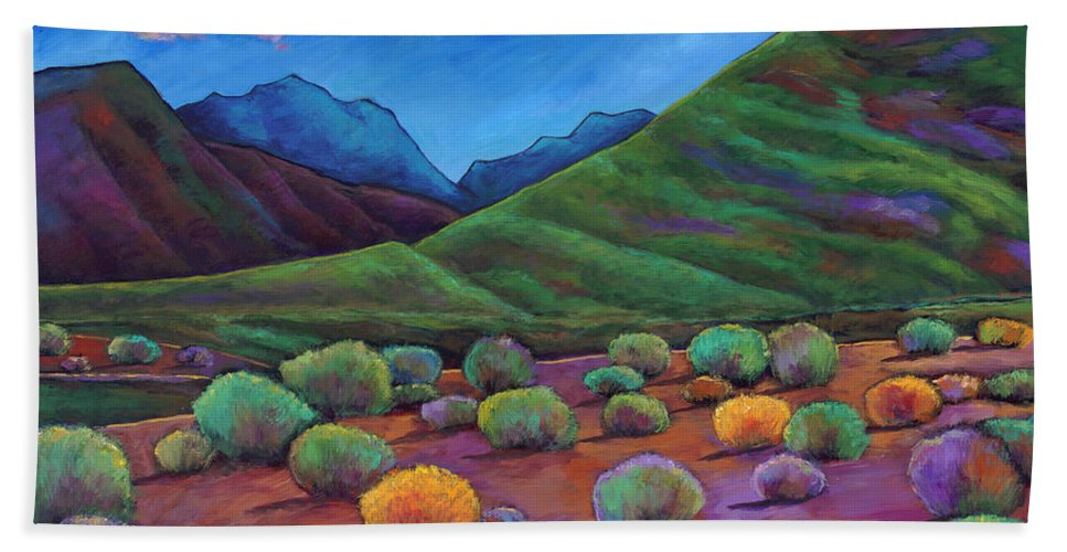 Arizona Hand Towel featuring the painting Desert Valley by Johnathan Harris