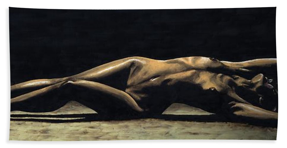 Nude Bath Towel featuring the painting Desolation by Richard Young