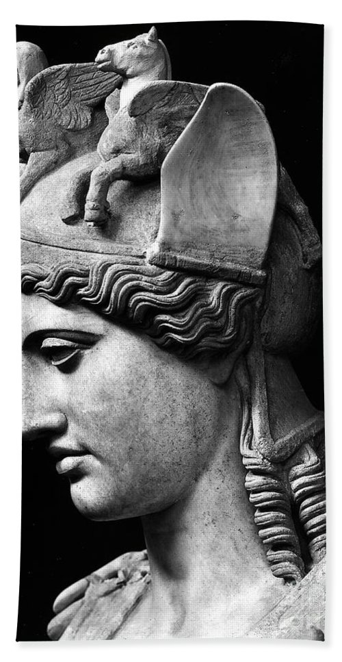 Phidias Bath Towel featuring the sculpture Detail Of The Face Of Athena Farnese by Phidias