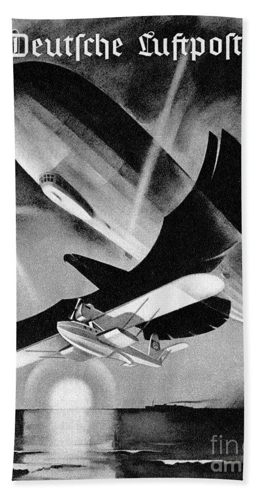 Deutsche Luftpost Hand Towel featuring the drawing Deutsche Luftpost by Oleg Konin
