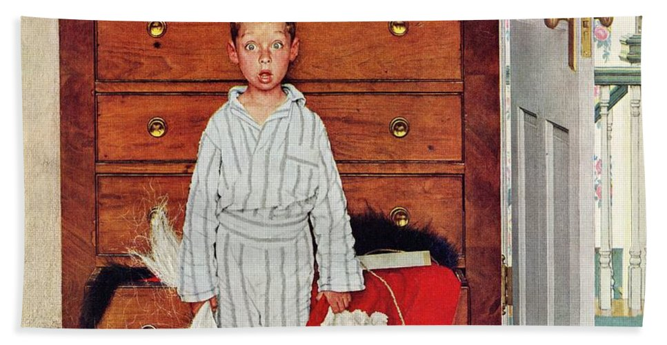 Bedrooms Bath Towel featuring the drawing Discovery by Norman Rockwell