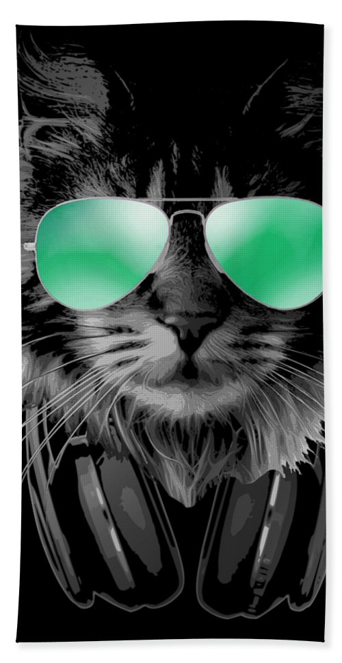 Cat Bath Towel featuring the digital art Dj Furry Cat by Filip Schpindel