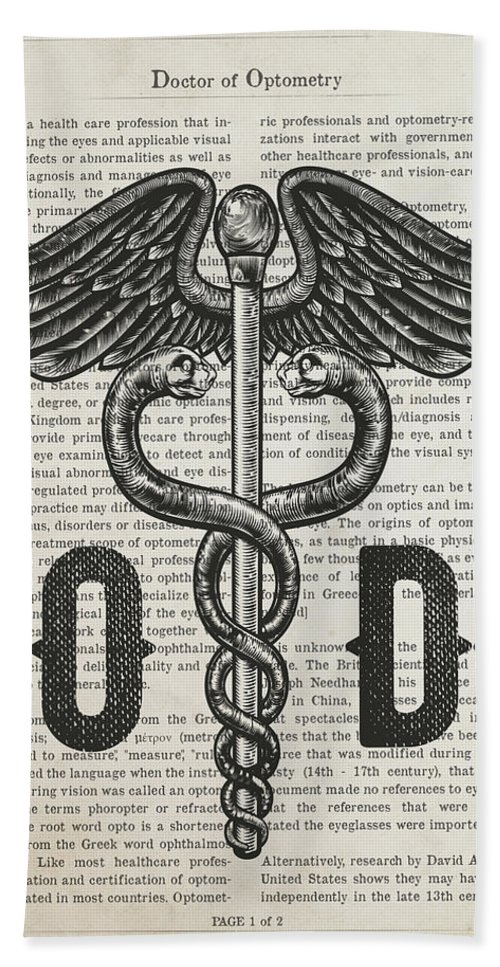 Doctor Of Optometry Bath Towel featuring the digital art Doctor Of Optometry Gift Idea With Caduceus Illustration 01 by Aged Pixel